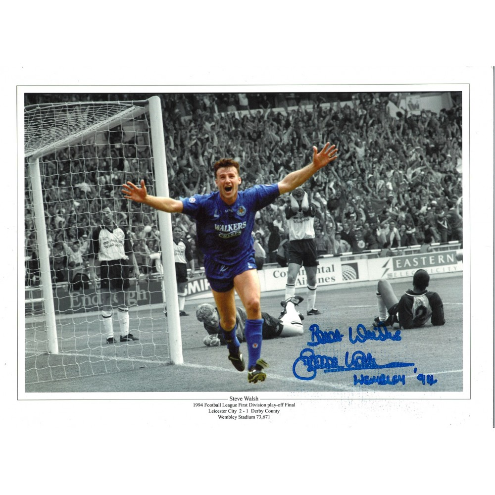 Steve Walsh Collage Wembley Leicester City Signed 16 x 12 inch football photo.